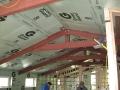Interior steel beams before wood
